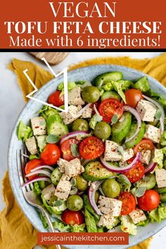 You'll be amazed by how easy it is to make Vegan Tofu Feta Cheese. Plus, it's beyond delicious! Tofu Recipes, Vegan Dinner Recipes, Good Healthy Recipes, Vegan Snacks, Mexican Food Recipes, Meatless Recipes, Vegan Foods, Vegan Feta Cheese, Roasted Vegetable Salad