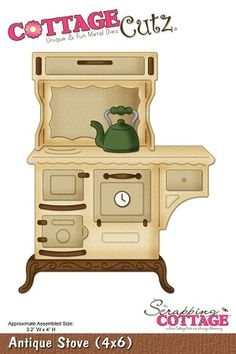 Cottage Cutz-Kitchen Series-4x6 Die-Antique Stove      Item Number: COT-4x6-003  Your Price: $24.95
