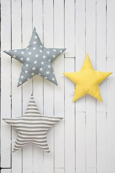 Yellow star pillow star shaped pillow kids room decor by Nuppi