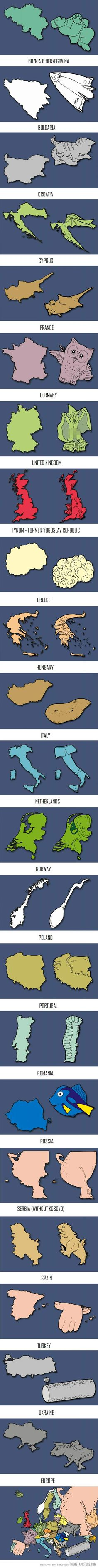 funny-Europe-countries-art  - love this, great way for visual learners to learn countries....
