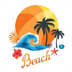Buy Bright Travel Illustration Or Print For T-shirts by incomible on GraphicRiver. Zip file contains fully editable RGB vector file and high resolution pixels RGB Jpeg image. Surf Design, Logo Design, Beach Logo, Resort Logo, Photo Mosaic, Travel Illustration, Shop Logo, Kawaii, Summer Fun