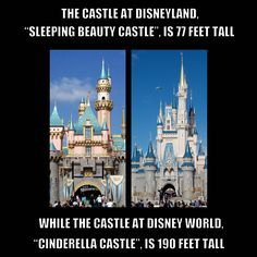"The castle at Disneyland, ""Sleeping Beauty Castle"" is 77 feet tall, while the castle at Disney World, ""Cinderella Castle"" is 190 feet tall."