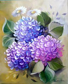 pintura de tela azul e rosa ile ilgili görsel sonucu One Stroke Painting, Tole Painting, Fabric Painting, Arte Floral, Hydrangea Painting, Decoupage Vintage, Painting Lessons, Learn To Paint, Flower Wallpaper