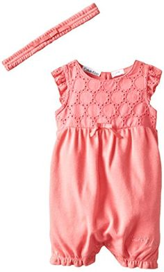 Calvin Klein Baby Girls' Coral Romper with Woven Eyelet Piecing