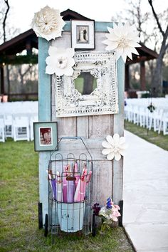Eclectic Spring Wedding in Brookshire, Texas designed and coordinated by Kat Creech Events and photographed by Steve Lee Photography. Wedding Doors, Diy Wedding, Rustic Wedding, Dream Wedding, Wedding Ideas, Wedding Rentals, Wedding Ceremony Decorations, Unique Weddings, Southern Weddings