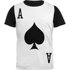 Halloween Ace of Spades Card Soldier Costume Adult Black Back T-Shirt,