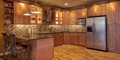 Shaker - Kitchen Cabinets - Home and Garden Design Idea's. Our current kitchen needs this backsplash. Shaker Kitchen Cabinets, Kitchen Cabinet Design, Rta Cabinets, Updated Kitchen, New Kitchen, Kitchen Ideas, Kitchen Planning, Kitchen Redo, Kitchen Designs