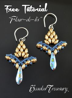 FLEUR-DE-LIS earrings with superduos ~Seed Bead Tutorials