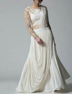 Exclusive Indian Ethnic Bollywood Style Designer Crop Top Dress With Beautifull Drapes Latest Weddin Indian Gowns Dresses, Indian Fashion Dresses, Indian Designer Outfits, Fashion Outfits, Stylish Sarees, Stylish Dresses, Choli Dress, Designer Party Wear Dresses, Indian Bridal Fashion