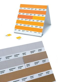 What a clever idea! This pantone calendar would go nicely with all our other pantone stuff!