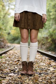 Fall Fashion - Suede Mini Skirt, Knee High Socks, & Winter Boots