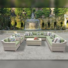 Delacora TKC-DPF-FAI10A Fairmont Outdoor 10 Piece Conversation Set with Fade Res Cilantro Outdoor Furniture Sets Conversation