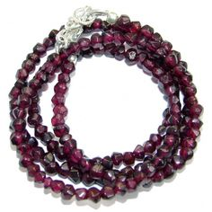 Simple genuine Garnet Beads Strand Necklace .925 Sterling Silver 18 inches necklace