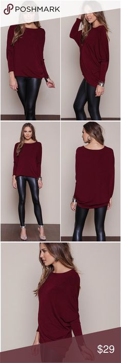 Wine Lush Dolman A must have basic! Soft knit dolman top with long sleeves and boxy, loose fit. Looks cute paired with your favorite pair of jeans and ankle boots or sneakers for the ultimate casual look. Due to the material's soft and cozy texture, I have decided to order more in different colors. Will post new colors soon. Tops