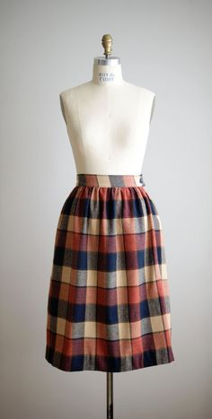 1960s wool plaid skirt