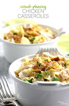 Try something new with chicken at your next gathering, like one of these crowd-pleasing casseroles: http://www.bhg.com/recipes/chicken/casseroles/crowd-pleasing-chicken-casseroles/?socsrc=bhgpin102314chickenandwildricecasserole&page=9