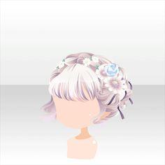 Anime hair bun with flower crown