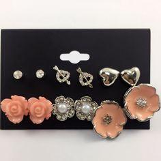Aliexpress.com : Buy 6 Pair/set Elegant Jewelry Stud Earrings Set Black Orange Yellow Resin Flower Earrings Clear Crystal Heart Earring For Women from Reliable earrings crown suppliers on DanZe Accessories Store