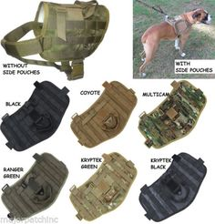TACTICAL-POLICE-K9-COMPACT-DOG-VEST-HARNESS-MOLLE-USA-MILSPEC-VELCRO-US-MILITARY