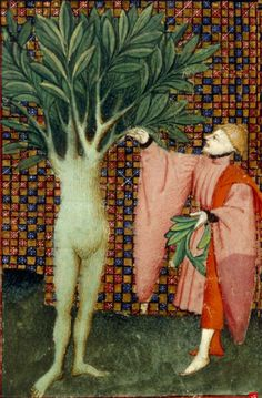 Daphne, half-woman and half-laurel tree with Apollo. The Book of the Queen,  c.1410-1414, Harley MS 4431, f. 134v, The British Library. http://www.bl.uk/manuscripts/Viewer.aspx?ref=harley_ms_4431_f134v