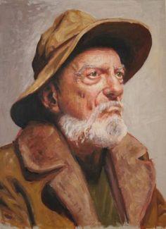"Saatchi Art Artist Renée Caouette; Painting, ""Portrait of an old Man in a Hat"" #art"