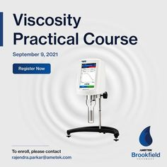 Join our Practical Course on Viscosity and learn from the experts in the industry. 👉On 9th September Gain a solid understanding of test method procedures, fluid behaviour, and proper instrument use for your AMETEK Brookfield viscometer. Register now to get the most out of your AMETEK Brookfield instrument. To enrol, write an email to rajendra.parkar@ametek.com Write An Email, Center Of Excellence, Training Schedule, Learning, Centre, September, Join, Europe, Organization
