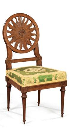 Chaise en acajou mouluré et sculpté d'époque Louis XVI. A FINE MAHOGANY CHAIR, LOUIS XVI. SOLD. 11,050 EUR