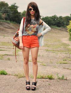 Miss Selfridge Sweater, Topshop Shorts, Topshop Top, Topshop Backpack, Asos Shoes