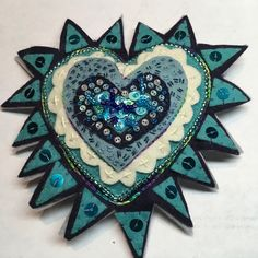 Milagro ~ hand made from felt (BLUES) Heart Crafts, Quilted Wall Hangings, Felt Hearts, Hand Sewing, Craft Supplies, Blues, Original Art, Arts And Crafts, Stitch