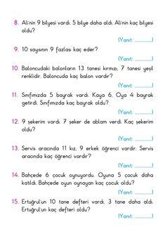Math Sheets, Turkish Language, Easy Paper Crafts, Preschool Math, Math For Kids, School Hacks, First Grade, Worksheets, Education