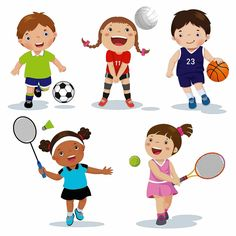 Vector - vector illustration of various sports kids on a white background Video Games For Kids, Kids Videos, Kid Picks, School Closures, Home Learning, Sports Pictures, Kids Sports, Vector Free, Vector Vector