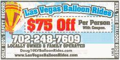 $75.00 off per person at Las Vegas Balloon Rides.