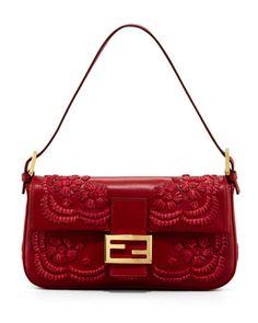 f0e06f4a59ed7 Fendi Embroidered Leather Baguette Shoulder Bag