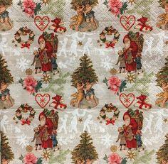 Decoupage Paper Napkins  Christmas  Santa  set of 4