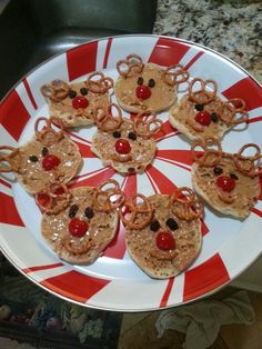 Reindeer peanut butter English muffin school snack.  Christmas Kids food