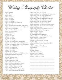 Free Wedding Photography Checklist.  #free #photographers