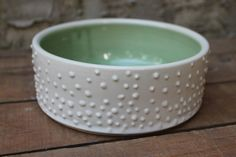 Pet Bowl, Large, Polka Dot, Light Green, Cat Dish, Ceramic, Handmade, MADE TO ORDER, ready in 4-6 weeks. May look a bit different from the