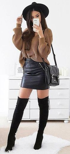 #winter #outfits brown sweater and black leather skirt outfit