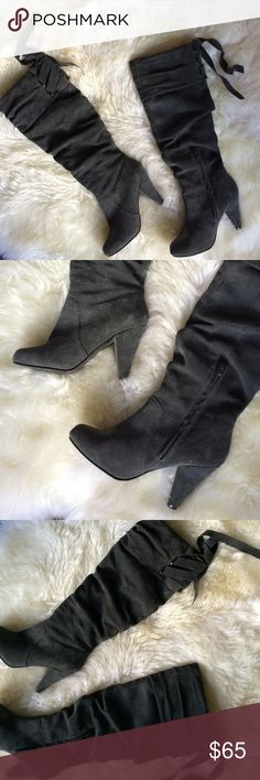 "HPNaughty monkey gray suede heeled boots 6.5 Beautiful gray suede naughty monkey boots with 4"" inch heel height! Boots hit approx 1"" inch below the knee. Really comfy an stylish. Has lace up detail in the back as shown HOST PICK- weekend wardrobe party- 11/26/16 ASOS Shoes Heeled Boots"