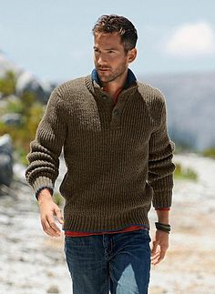 pattern 'Button neck sweater' knitting pattern for men designed by Tatsiana Bokun ....... the pattern was published in a Bergere de France publication but no longer available.  Listed on Ravelry, perhaps it could be found on ebay or such...??!!