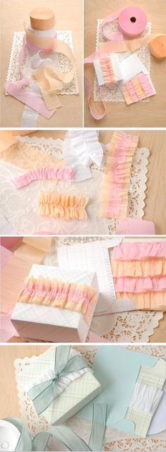 ruffled packages using crepe paper sewn together and bunched