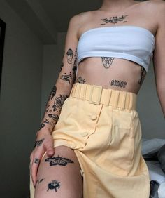 Read ink me from the story that aesthetic crack by stoneydanes (Ellie) with reads. Dope Tattoos, Dainty Tattoos, Pretty Tattoos, Mini Tattoos, Body Art Tattoos, Sleeve Tattoos, Tatoos, Random Tattoos, Stomach Tattoos