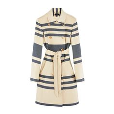 RIVIERA STRIPE COAT ($510) ❤ liked on Polyvore featuring outerwear, coats, cream coat, cream trench coat, striped coat, striped trench coat and blue double breasted coat