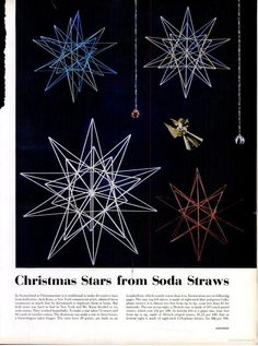 A cool vintage how-to for making stars from soda straws. It would be cool to try with neon straws.