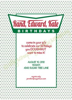 Doughnut Party Invitation Pajama Party Milk Donuts Krispy Dunkin. $18.00, via Etsy.
