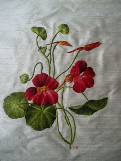 """Nasturtium"". Crewel embroidery. Added by Denise Bonham. Click through for excellent magnification. Shows every thread."