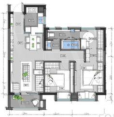第四季绿地集团未来户型大赛21强揭晓 - 设计腕儿【腕儿线索】 Modern Floor Plans, House Floor Plans, Plan Ville, Architectural Floor Plans, Interior Design Layout, Apartment Floor Plans, Tiny House Cabin, Luxury House Plans, Solar House