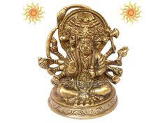 Panchmukhi Hanuman Idol | Buy Online on Vedicvaani.com, at low price, Lord Hanuman in Sitting Pose in Brass, Lord Hanuman also known as Monkey face God Idol in five faces sculpture in pandchadhatu meterial. Vedicvaani.com get five face hanuman deity murti, statues online, get 5 mukh hanuman idol from india.  The origin of Panchamukhi Hanuman can be traced in Ramayana. During the war, between Lord Rama and Ravana.Ravana took help of Mahiravanka who is the king of Pathala.