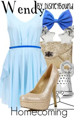 """I ♥ this Wendy Darling from """"Peter Pan"""" inspired Disneybound outfit, especially the two different shades of blue paired with the nude and silver accessories! Disney Themed Outfits, Disney Dresses, Disney Clothes, Disney Mode, Disneybound Outfits, Disney Inspired Fashion, Disney Fashion, Estilo Disney, Character Inspired Outfits"""