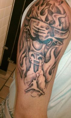 Chicago Bulls tattoo designed by my son with Jordan emblem coming out of nose's smoke, http://tinyurl.com/bxjxsa